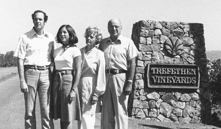 Trefethen - John, Janet, Katie and Gene at Main Entrance in 1970s