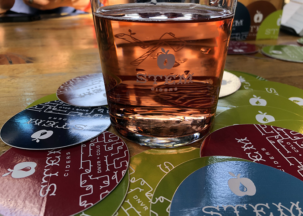 Whiskey Barrel Aged Rosidae cider in RiNo tasting room in Denver