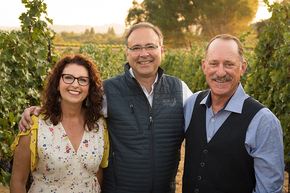 A more recent picture of Kim Stare Wallace, Tim Bell (winemaker), and Don Wallace.