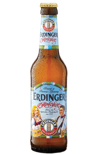 Erdinger Oktoberfest expertly combines smooth malt aromas with a pronounced hop bitterness. This well-balanced flavor is complemented by gently sparkling carbonic acid to give it the typical liveliness of a genuine wheat beer. Smooth, strong and irresistible—brewing tradition at its finest.