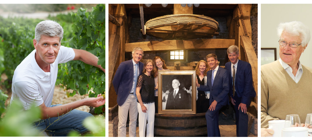 Left: Philippe Drouhin. Middle: Drouhin family portrait with 2nd, 4th & 5th generations. Right: Robert Drouhin.