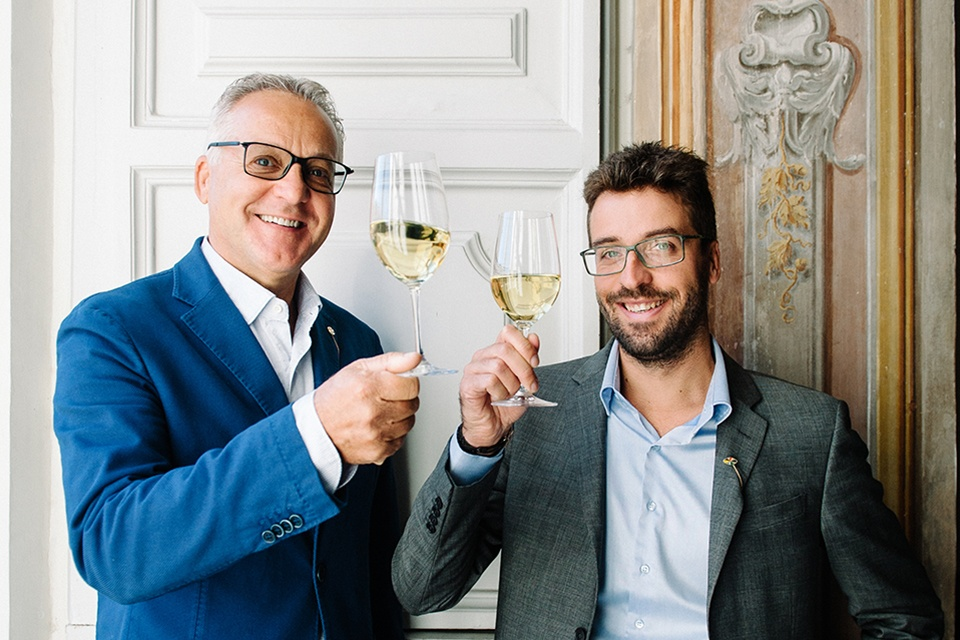 Silvio Jermann with his son and third-generation winemaker Michele Jermann toast with some Vintage Tunina.