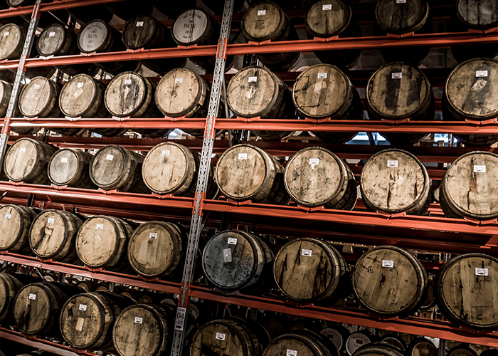 Barrel storage in the warehouse at High Coast Distillery