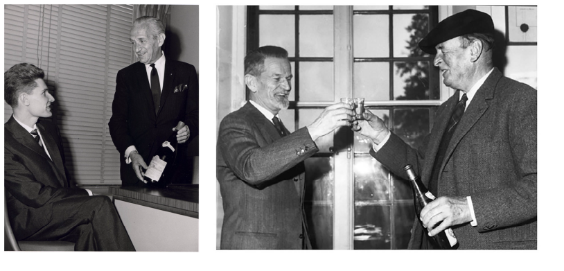 Left: A young Robert Drouhin and Michel Dreyfus holding a bottle of Clos des Mouches circa 1957. Right: Dreyfus with a bottle of Chateau D'Auvernier.
